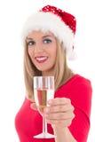 Schöne junge Frau mit dem Glas Champagner lokalisiert auf Weiß. Lizenzfreies Stockbild