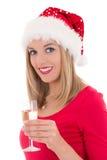 Schöne junge Frau mit dem Glas Champagner lokalisiert auf Weiß Stockbilder