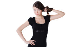 Schöne junge Frau mit dem langen Haar Stockfotografie
