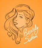 Schöne junge Frau mit dem langen Haar Auch im corel abgehobenen Betrag Stockfoto