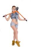 Schöne junge Frau mit einem Bolzenschneider Lizenzfreie Stockbilder