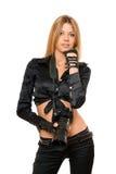 Schöne junge Frau mit einer Fotokamera Lizenzfreie Stockfotos