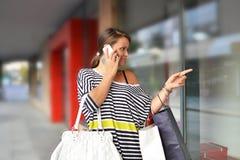 Schöne junge Frau mit Einkaufstaschen Stockbilder