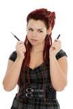 Schöne junge Frau mit Feder Stockfotos