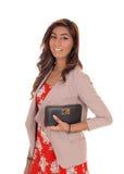 Schöne junge Frau mit Handtasche Lizenzfreies Stockfoto