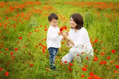 Schöne junge Frau mit Kindern im Park lizenzfreies stockfoto
