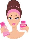 Schöne junge Frau mit Kosmetik eingestellt Stockbild