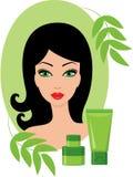 Schöne junge Frau mit Kosmetik eingestellt Stockfoto