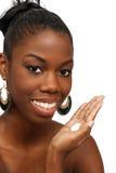 Schöne junge Frau mit Lotion (2) Stockbilder