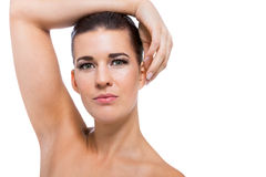 Schöne junge Frau mit perfekter Haut stockbild