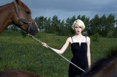 Schöne junge Frau mit Pferden Lizenzfreies Stockbild