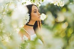 Schöne junge Frau umgeben durch Blumen des Applebaums Stockfoto