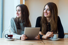 Schöne junge Frauen, die digitale Tablette in der Kaffeestube verwenden Lizenzfreies Stockbild