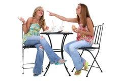 Schöne junge Frauen, die zusammen zu Mittag essen Stockfotos