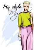 Schöne junge Frauen in einer grünen Bluse und in einer rosa Hose Hand gezeichnetes Modem?dchen Art und Weisebaumusteraufstellung  lizenzfreie abbildung