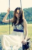 Schöne junge Frauen formen mit dem langen Haar stockbilder