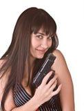 Schöne junge Frauen mit Gewehr. Lizenzfreie Stockfotografie