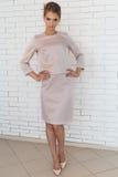 Schöne junge Geschäftsfrau in einer Geschäftsartklage im Studio nahe Backsteinmauer Lizenzfreie Stockbilder
