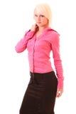 Schöne junge Geschäftsfrauaufstellung stockbild