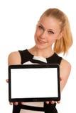 Schöne junge kaukasische Geschäftsfrau mit Funktion des blonden Haares Stockbild