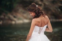 Schöne junge Luxusbraut im langen weißen Hochzeitskleid und Schleier, der nahen Fluss mit Bergen auf Hintergrund steht lizenzfreies stockfoto