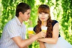 Schöne junge Paare, die Spaß haben Picknick in der Landschaft glücklich Stockfotografie