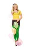 Schöne sexy blonde Frau mit Ballonen Stockbilder