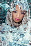Schöne junge mysteriöse Frau mit einem Schal auf ihrem Kopf, der im Wald nahe dem Öl am hellen Wintertag steht Stockbild