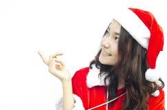 Schöne junge Weihnachtsmann-Frau, lizenzfreies stockbild