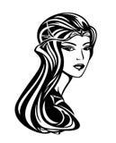 Schöne Königin mit langem Haarvektorporträt Stockbilder