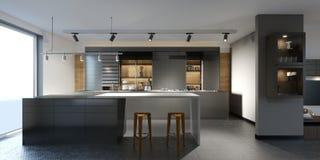 Schöne Küche mit dunklen Möbeln eines neuen Dachbodens lizenzfreie abbildung