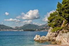 Schöne Küstenansicht, adriatisches Meer, Montenegro Lizenzfreie Stockfotos