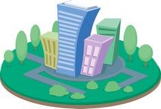 Schöne Karikaturstadtinsel mit grünem Boden und bunten Gebäuden stock abbildung