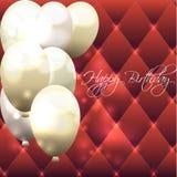 Schöne Karte für Geburtstag mit rotem Hintergrund und Luftballonen Stockbild