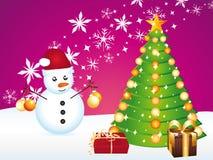 Schöne Karte mit dem Schneemann, der Weihnachten vorbereitet. Lizenzfreies Stockfoto