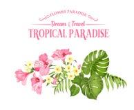 Schöne Karte mit einem Kranz von tropischen Blumen Tropische Blumengirlande Blütenblumen für Einladungskarte vorbei vektor abbildung