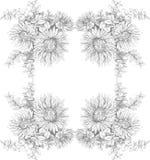Schöne Karte mit einem rechteckigen von verschiedenen Blumen des Weinlesegartens Hochzeit, Weinlesekonzept Lizenzfreies Stockbild