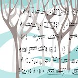 Schöne Karte mit Winterwald und musikalischen Anmerkungen Stockfoto