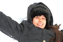 Schöne kaukasische Frau: Schnee-Prinzessin  Stockfotografie