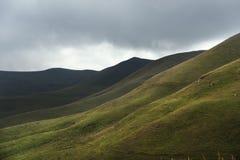 Schöne kaukasische grüne Landschaft der Hochländer mit einem Tanz des Lichtes und der Schatten auf einem Abhang Lizenzfreies Stockfoto