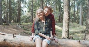 Schöne kaukasische Paare, die in einem Wald während des sonnigen Tages sich entspannen stock footage