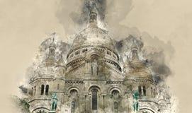 Schöne Kirche Sacre Coeur auf Montmartre-Hügel in Paris Stockbilder