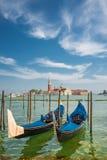 Schöne Kirche von San Giorgio Maggiore und Gondeln, Venedig, I Stockbilder