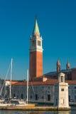 Schöne Kirche von San Giorgio Maggiore und sein Glockenturm, Ven Lizenzfreies Stockfoto