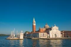 Schöne Kirche von San Giorgio Maggiore und sein Glockenturm, Ven Stockfotos