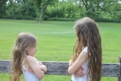 Schöne kleine Schwestern sind an einander verärgert Stockbild