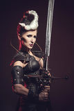 Schöne Kriegersfrau Fantasiekämpfer Stockbild