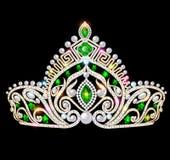 schöne Krone, Tiaratiara mit Edelsteinen und Erbse stock abbildung