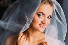 Schöne lächelnde blonde Braut in der Make-up und Schleiernahaufnahme Lizenzfreie Stockbilder