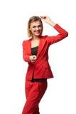 Schöne lächelnde tragende Schauspiele der Geschäftsfrau und im r stockfotos